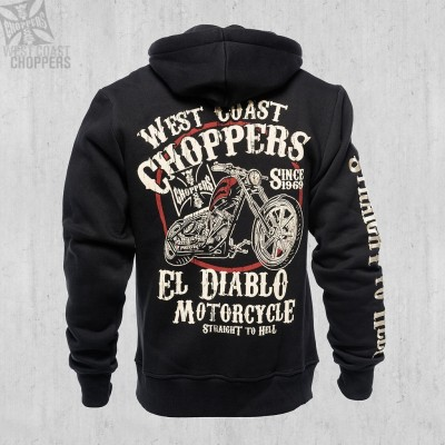 WEST COAST CHOPPERS MIKINA NA ZIP - EL DIABLO - BLACK