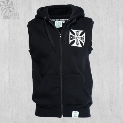 WEST COAST CHOPPERS MIKINA - IRON CROSS SLEEVELESS HOODY BLACK