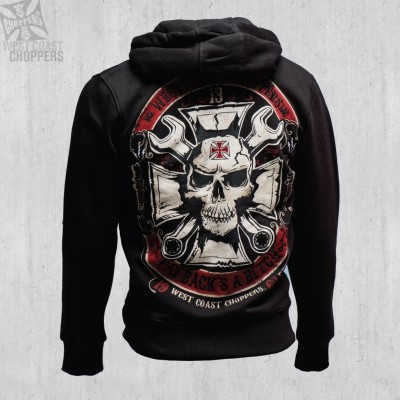"WEST COAST CHOPPERS MIKINA - ""MECHANIC ZIP HOODY BLACK"""