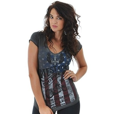 WEST COAST CHOPPERS DÁMSKÉ TRIKO - AMERICAN PRIDE TEE - OIL DYE ANTHRACITE