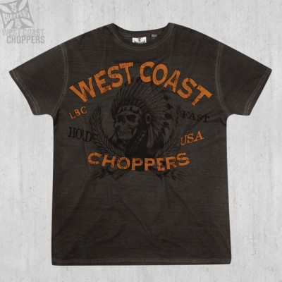 WEST COAST CHOPPERS TRIKO- HOLD FAST TEE - OIL DYE ANTHRACITE