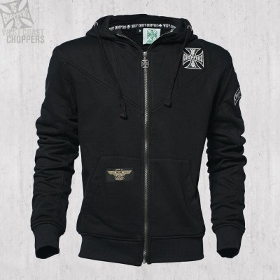 "WEST COAST CHOPPERS - MIKINA S KAPUCÍ NA ZIP ""CROSS PANEL ZIP HOODY BLACK"""