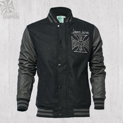 WEST COAST CHOPPERS - BUNDA OG CROSS WOOL BASEBALL JACKET GREY-BLACK