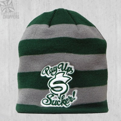 WEST COAST CHOPPERS ZIMNÍ ČEPICE - PAY UP SUCKER BEANIE GREY/GREEN