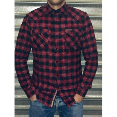 WEST COAST CHOPPERS- KOŠILE - SCRIPT FLANNEL WORKSHIRT - RED