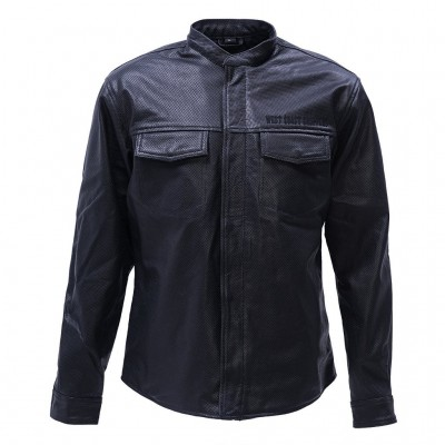 WEST COAST CHOPPERS- KOŽENÁ PERFOROVANÁ KOŠILE-OG PERFORATED LEATHER RIDING SHIRT BLACK