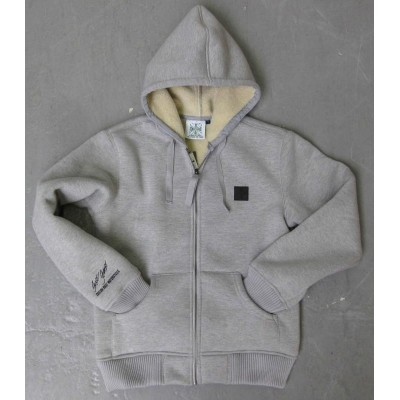 WEST COAST CHOPPERS - BUNDA S KAPUCÍ WCC SHERPA LINED ZIP HOODED GREY